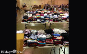 Clothing to be given away Saturday by First Baptist Church Saltillo has been sorted at the Saltillo Community Center. (Photo courtesy of Cindy Buzan via Facebook)