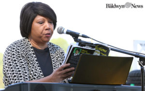 Patricia Neely-Dorsey reads selections of her poetry during the 2016 Okeelala Festival in Baldwyn. (News photo/Jason Collum)